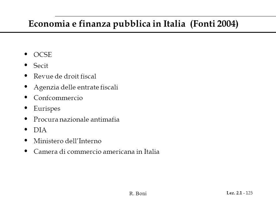 Economia e finanza pubblica in Italia (Fonti 2004)