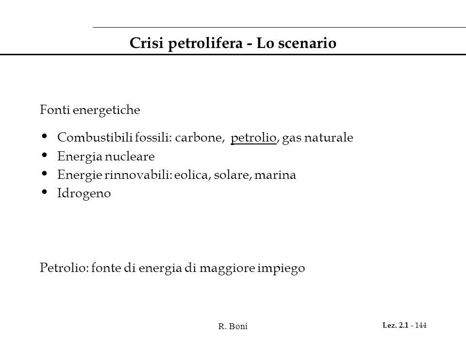 Crisi petrolifera - Lo scenario