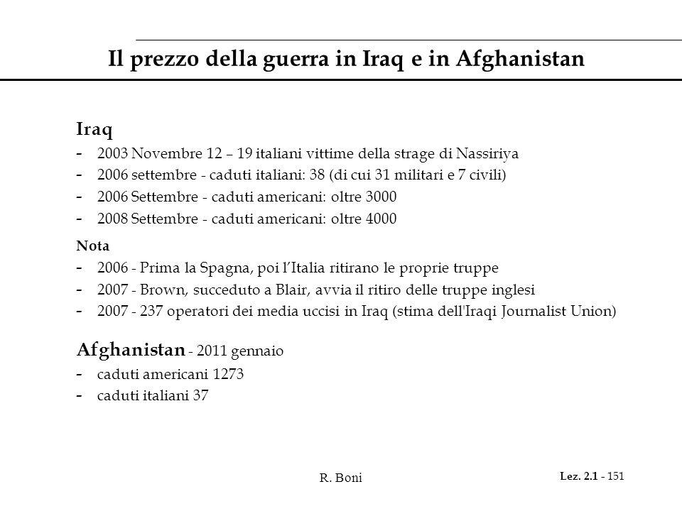 Il prezzo della guerra in Iraq e in Afghanistan