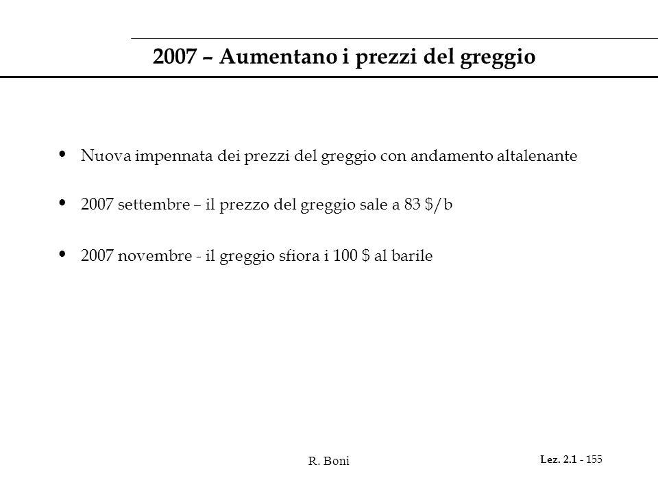 2007 – Aumentano i prezzi del greggio