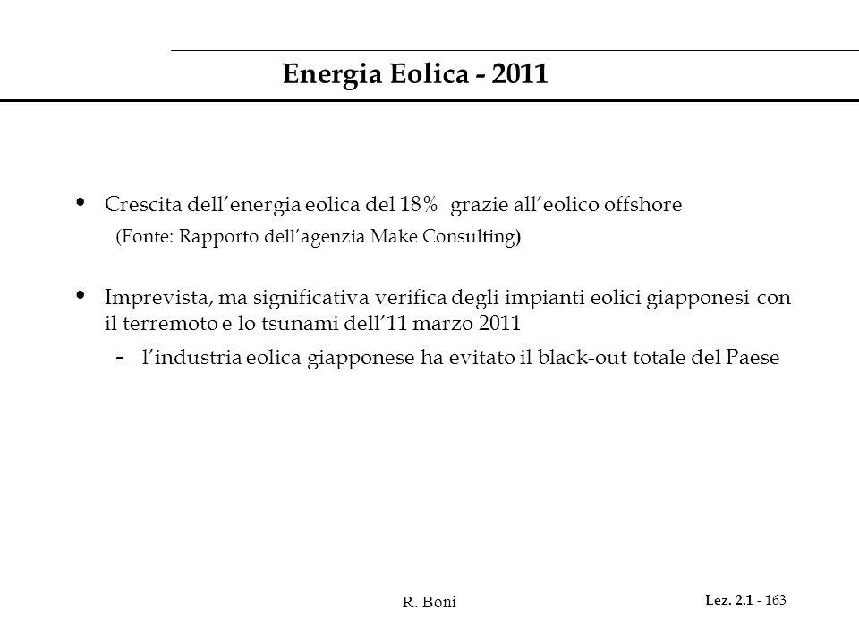 Energia Eolica - 2011Crescita dell'energia eolica del 18% grazie all'eolico offshore. (Fonte: Rapporto dell'agenzia Make Consulting)