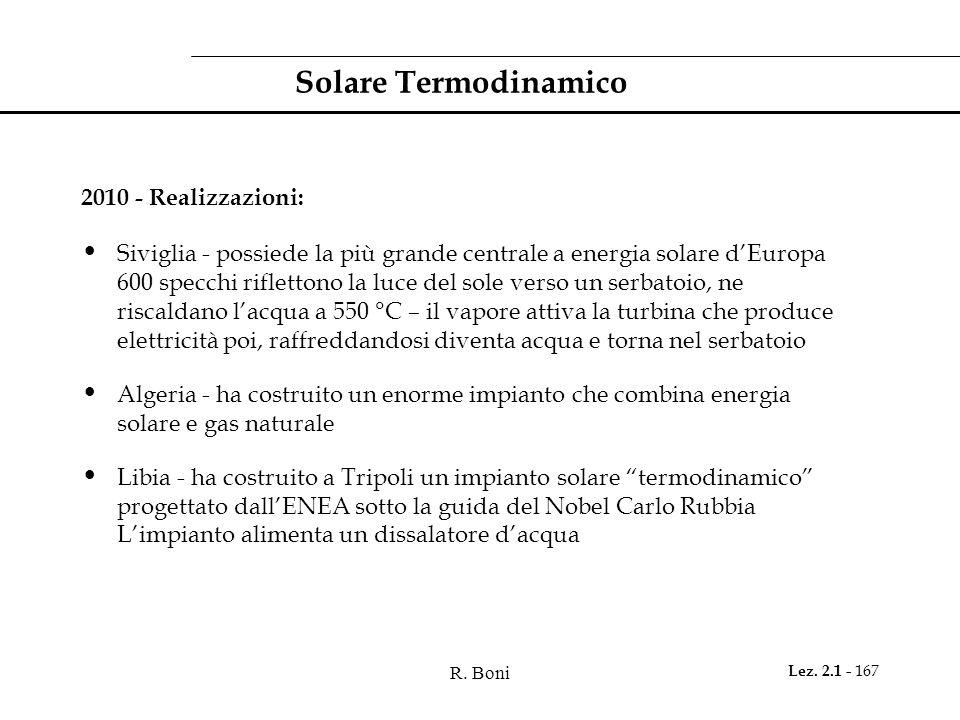 Solare Termodinamico 2010 - Realizzazioni: