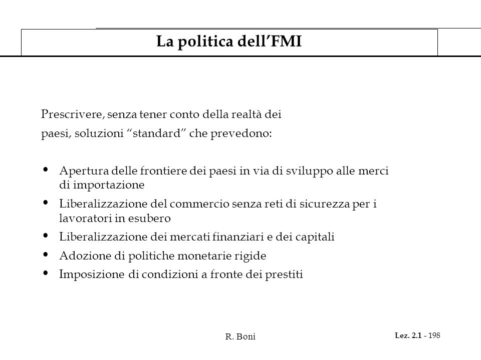 La politica dell'FMI Prescrivere, senza tener conto della realtà dei