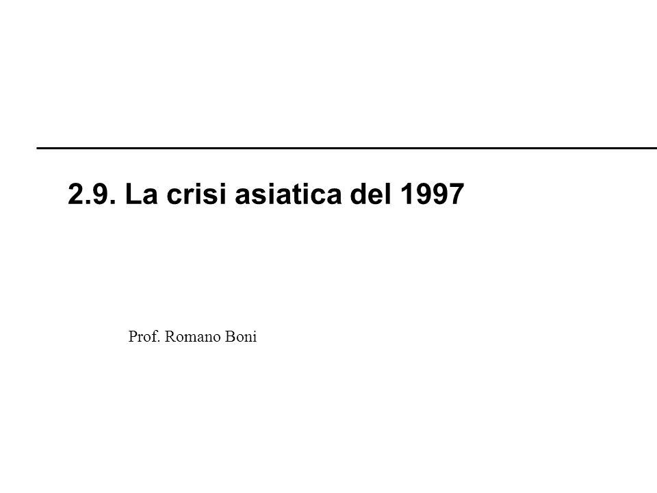 2.9. La crisi asiatica del 1997 Prof. Romano Boni R. Boni