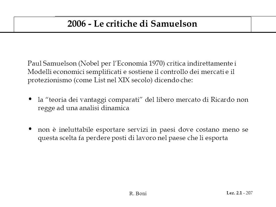 2006 - Le critiche di Samuelson