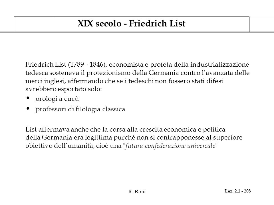 XIX secolo - Friedrich List