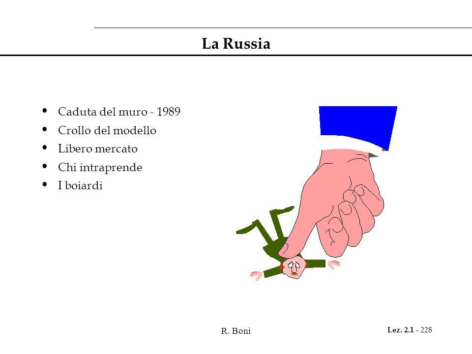 La Russia Caduta del muro - 1989 Crollo del modello Libero mercato