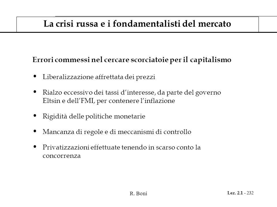 La crisi russa e i fondamentalisti del mercato