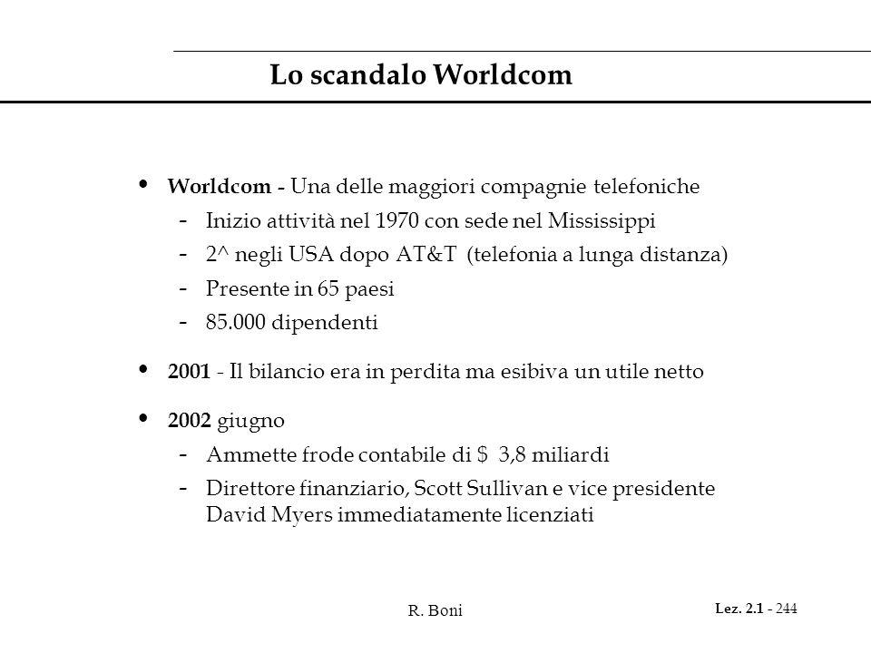 Lo scandalo Worldcom Worldcom - Una delle maggiori compagnie telefoniche. Inizio attività nel 1970 con sede nel Mississippi.