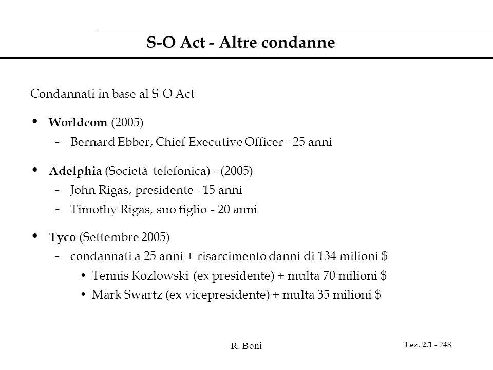S-O Act - Altre condanne