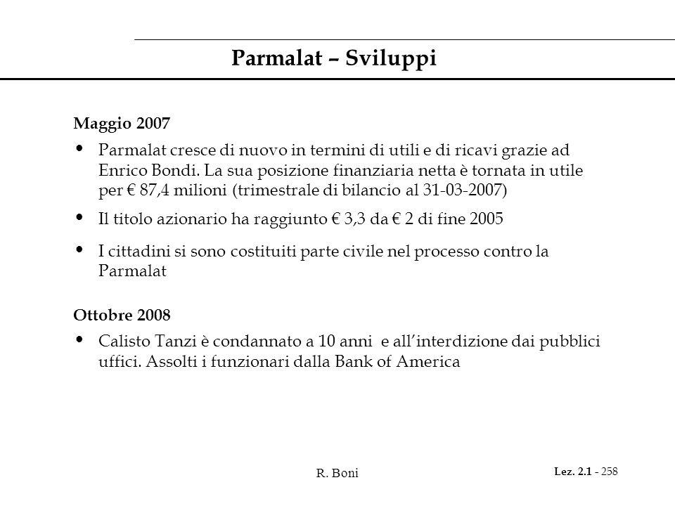 Parmalat – Sviluppi Maggio 2007