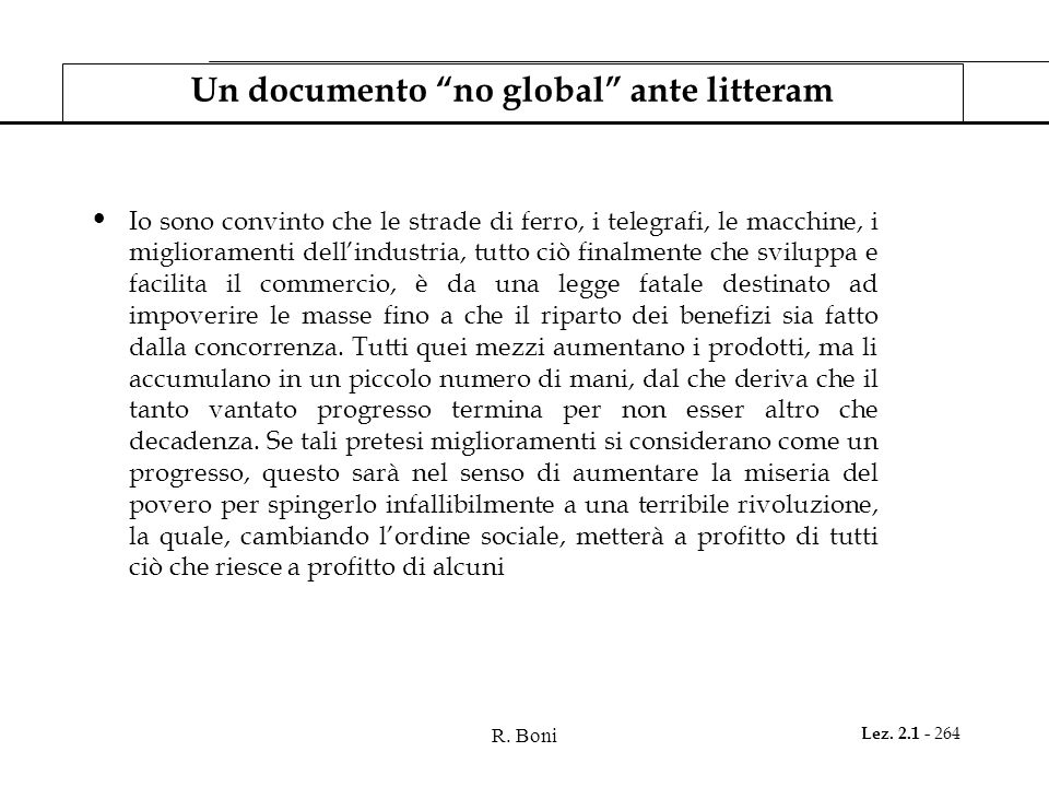 Un documento no global ante litteram