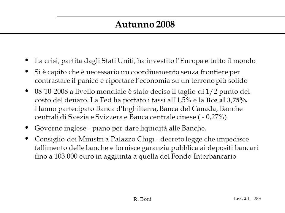 Autunno 2008 La crisi, partita dagli Stati Uniti, ha investito l'Europa e tutto il mondo.