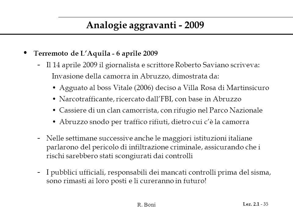 Analogie aggravanti - 2009 Terremoto de L'Aquila - 6 aprile 2009
