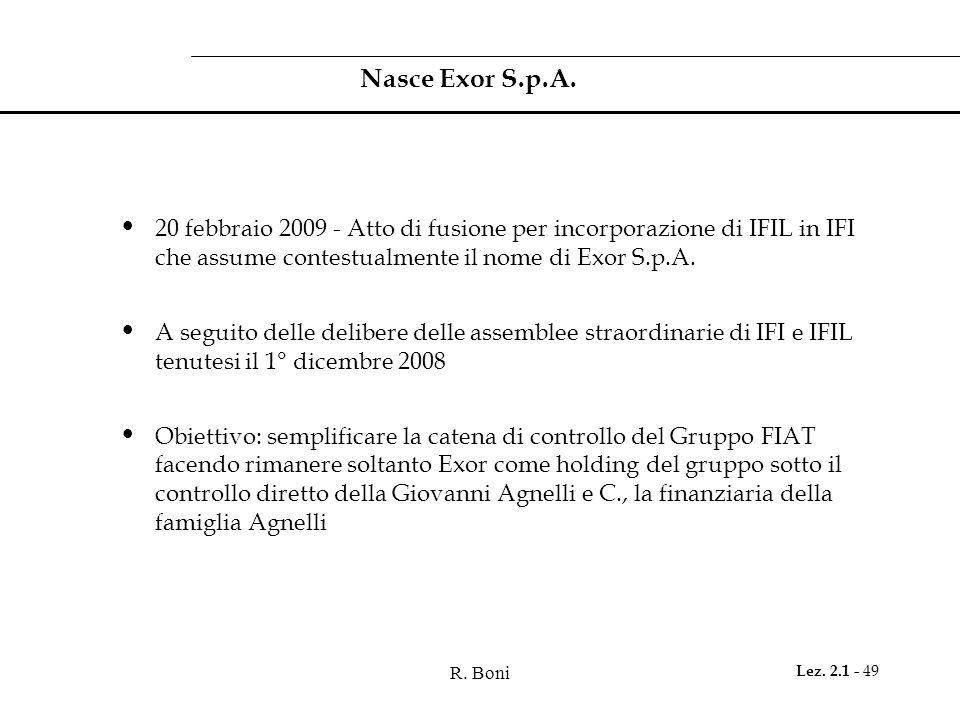 Nasce Exor S.p.A. 20 febbraio 2009 - Atto di fusione per incorporazione di IFIL in IFI che assume contestualmente il nome di Exor S.p.A.