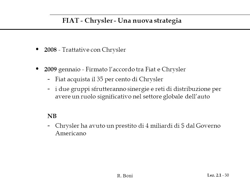 FIAT - Chrysler - Una nuova strategia
