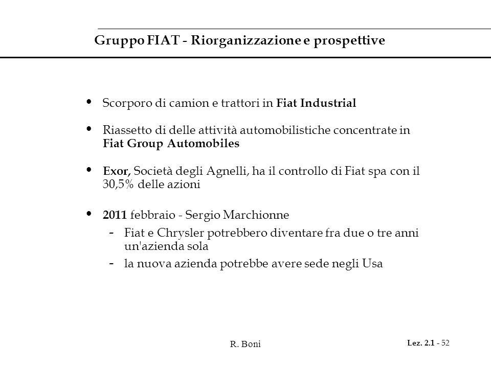 Gruppo FIAT - Riorganizzazione e prospettive