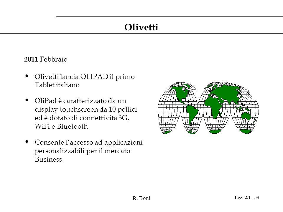 Olivetti 2011 Febbraio Olivetti lancia OLIPAD il primo Tablet italiano