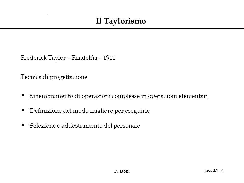 Il Taylorismo Frederick Taylor – Filadelfia – 1911