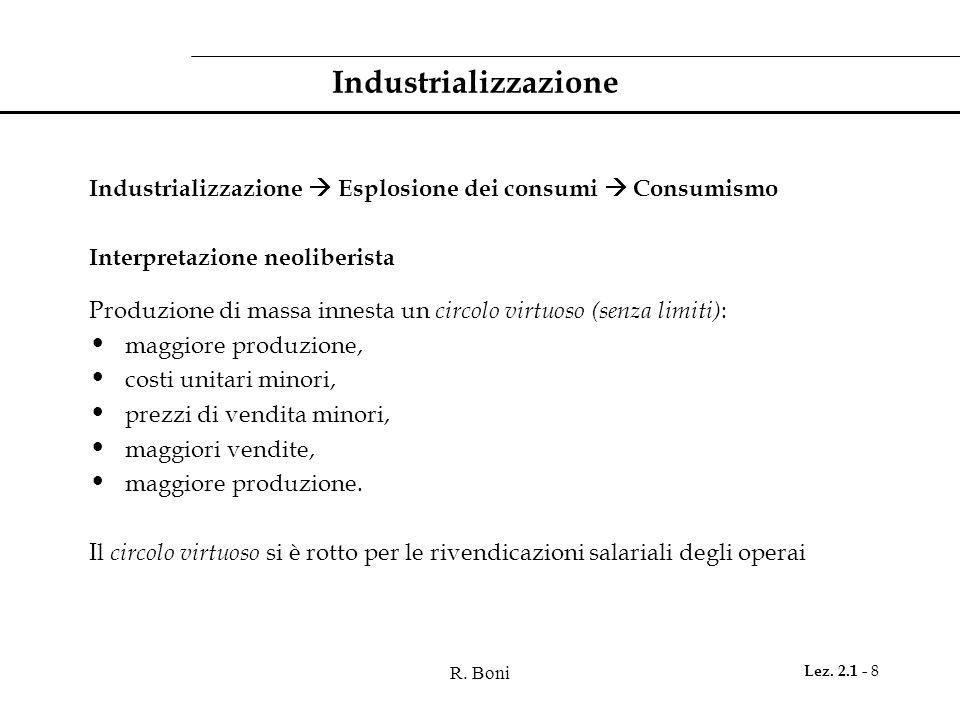 IndustrializzazioneIndustrializzazione  Esplosione dei consumi  Consumismo. Interpretazione neoliberista.
