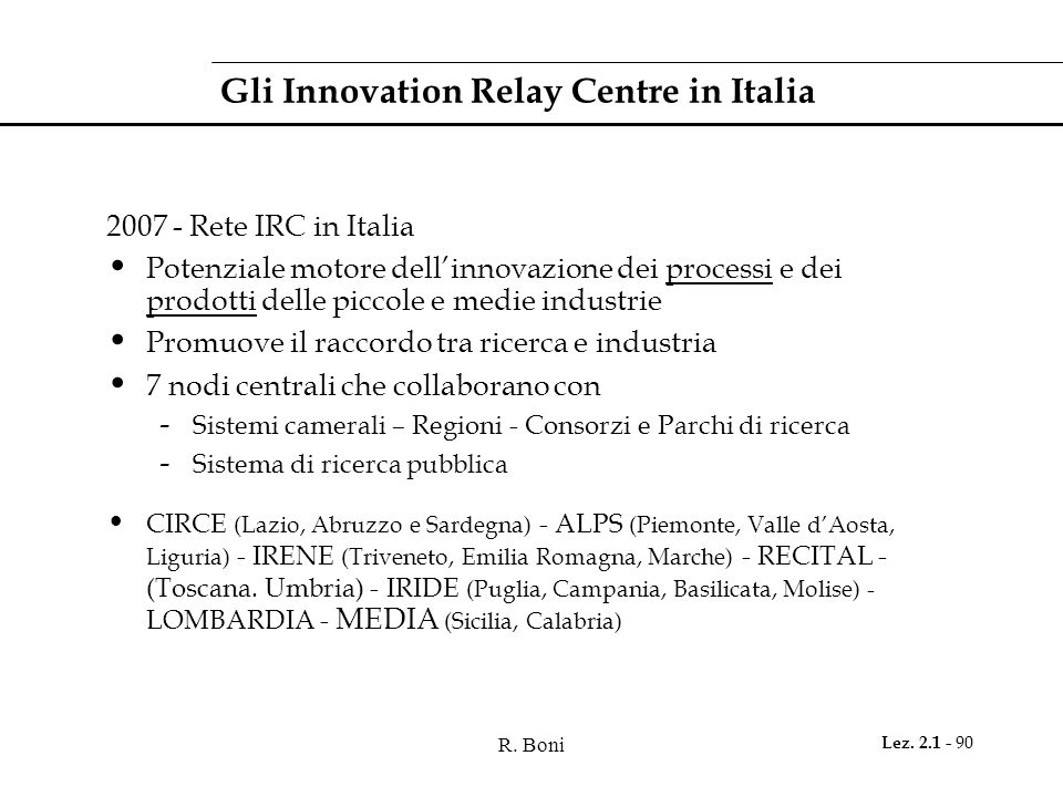 Gli Innovation Relay Centre in Italia