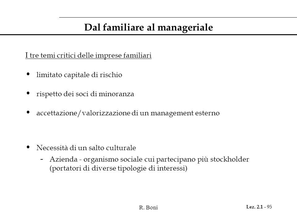 Dal familiare al manageriale