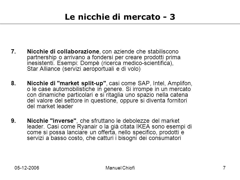 Le nicchie di mercato - 3
