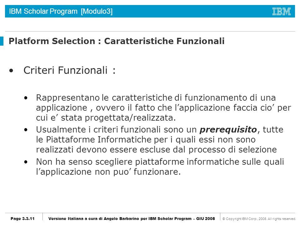 Platform Selection : Caratteristiche Funzionali
