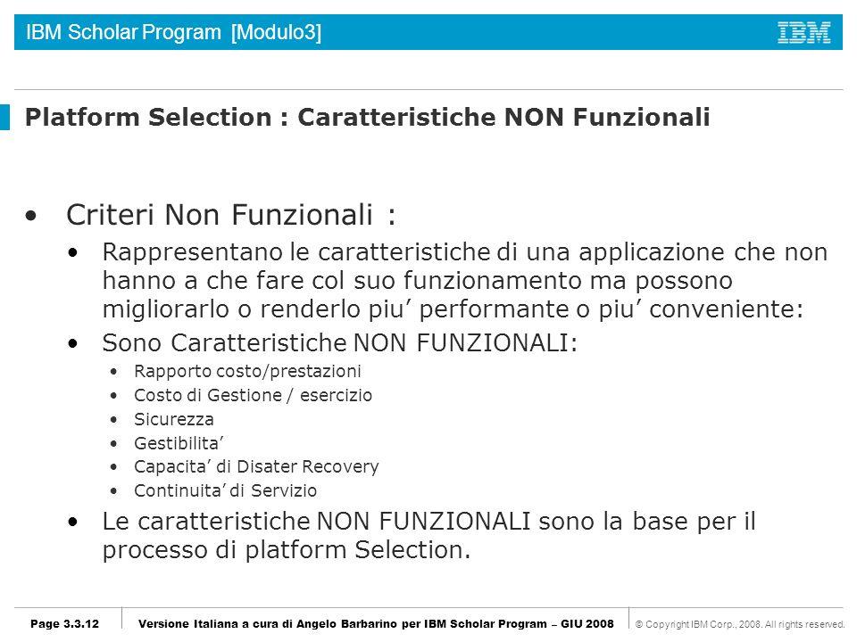 Platform Selection : Caratteristiche NON Funzionali