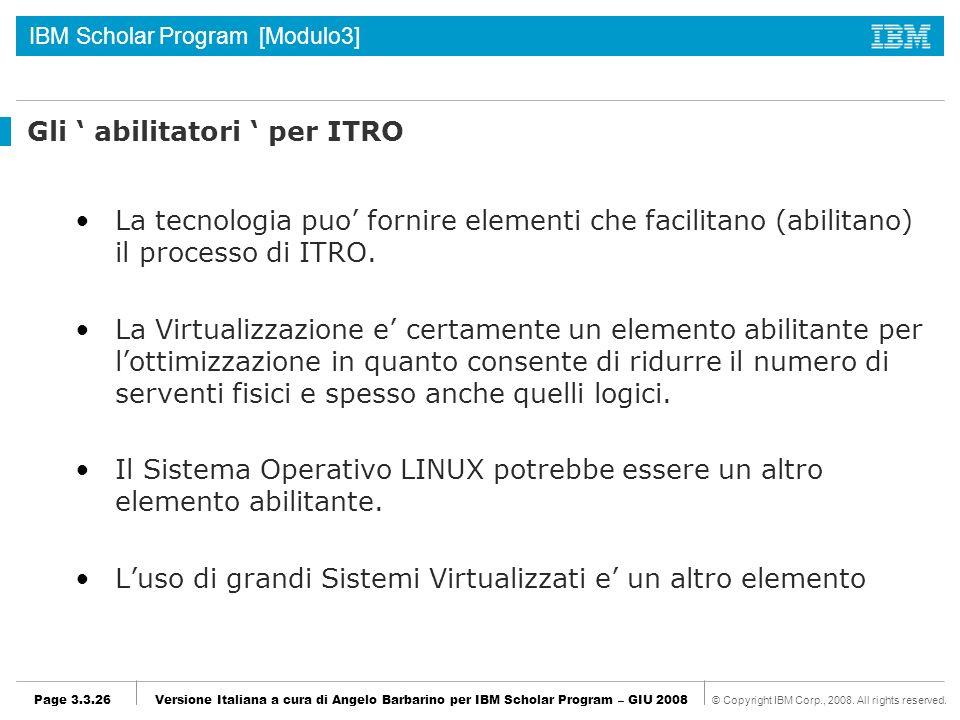 Gli ' abilitatori ' per ITRO