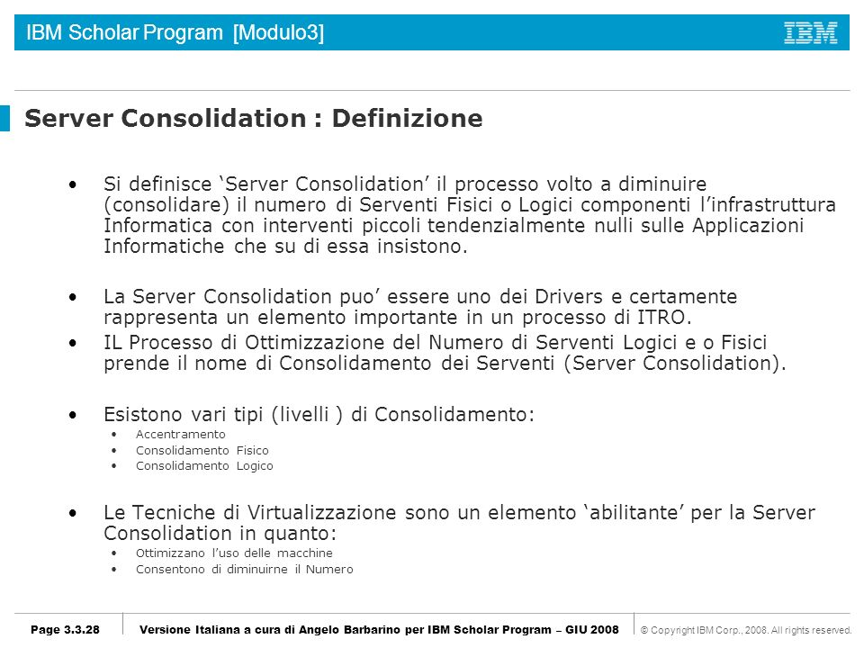 Server Consolidation : Definizione