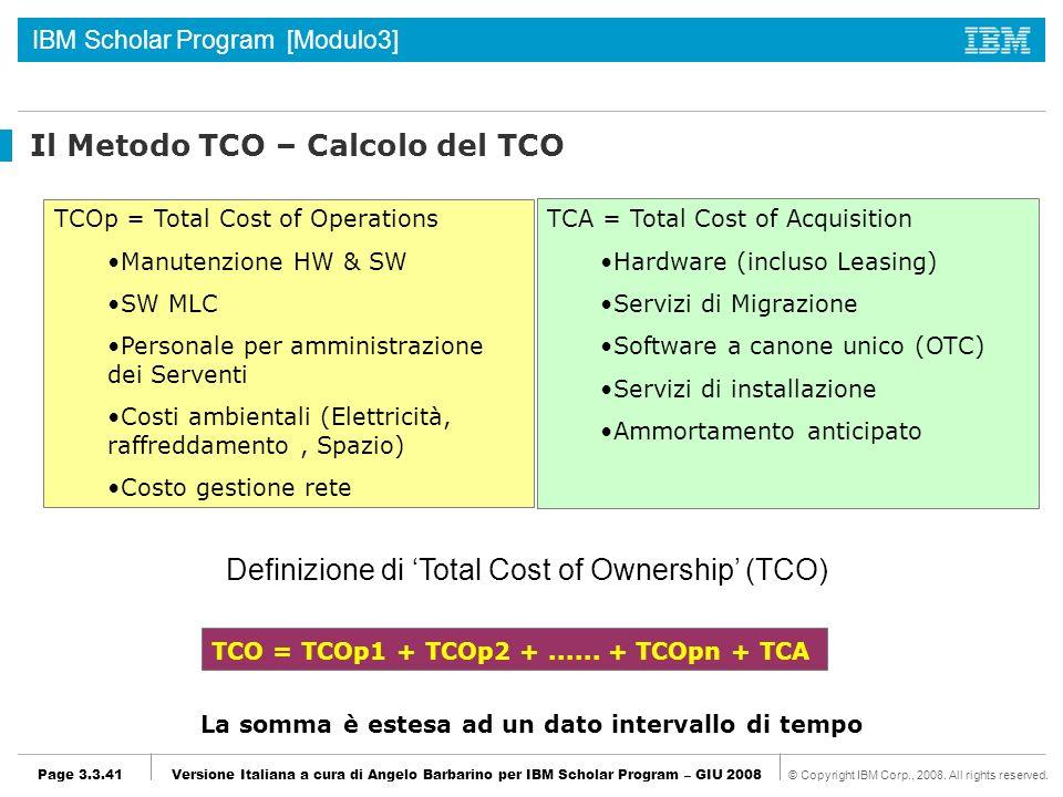 Il Metodo TCO – Calcolo del TCO