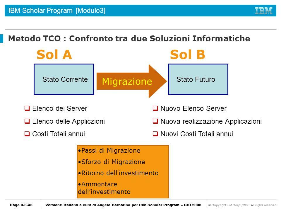 Metodo TCO : Confronto tra due Soluzioni Informatiche