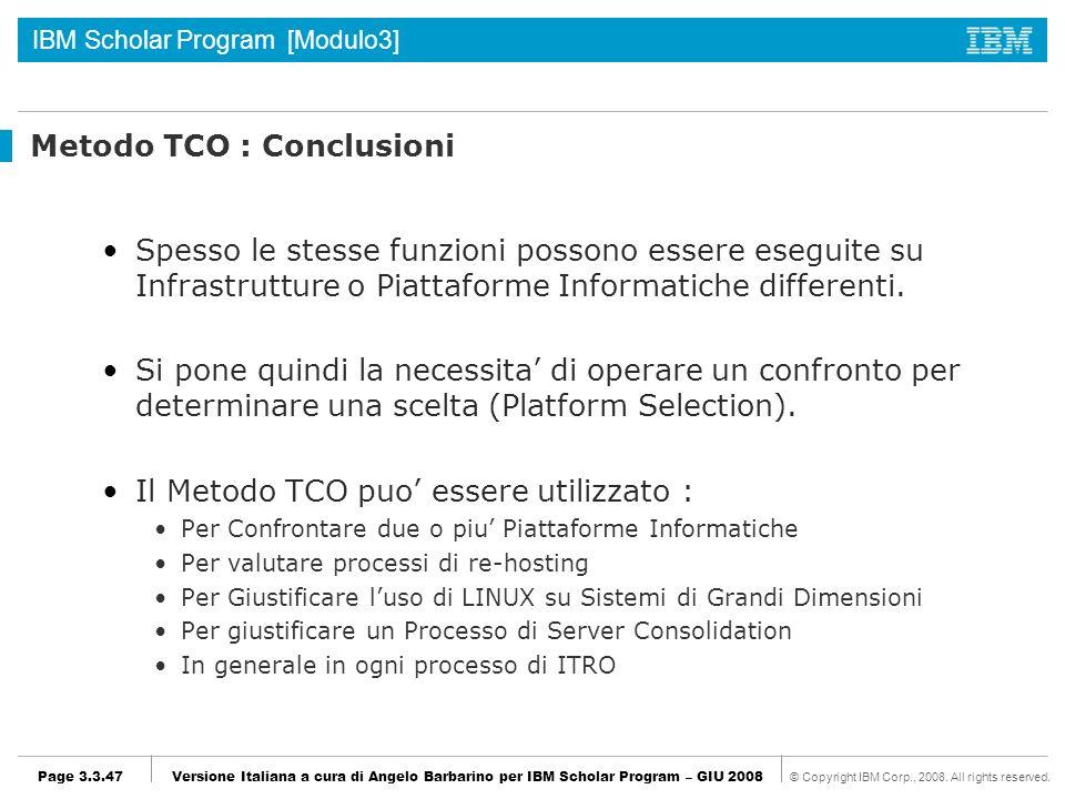 Metodo TCO : Conclusioni