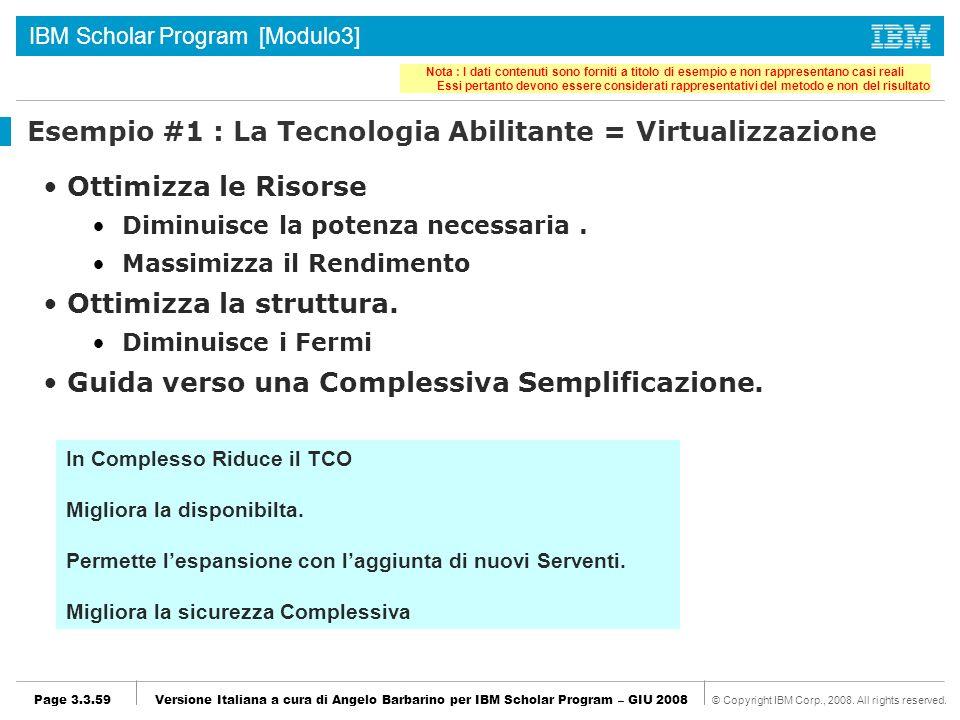Esempio #1 : La Tecnologia Abilitante = Virtualizzazione