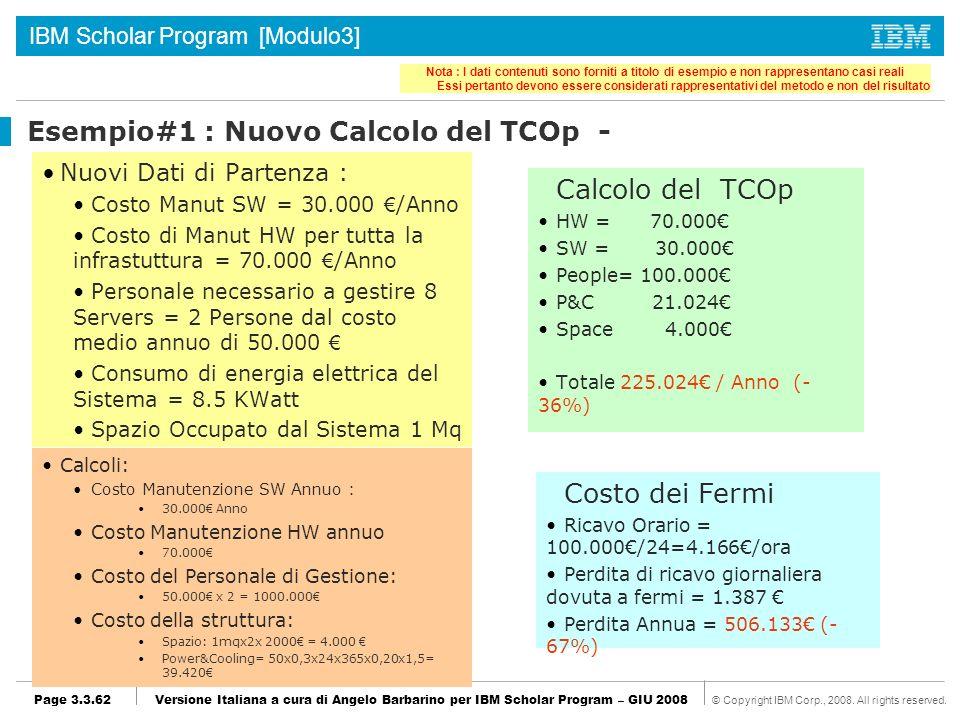 Esempio#1 : Nuovo Calcolo del TCOp -