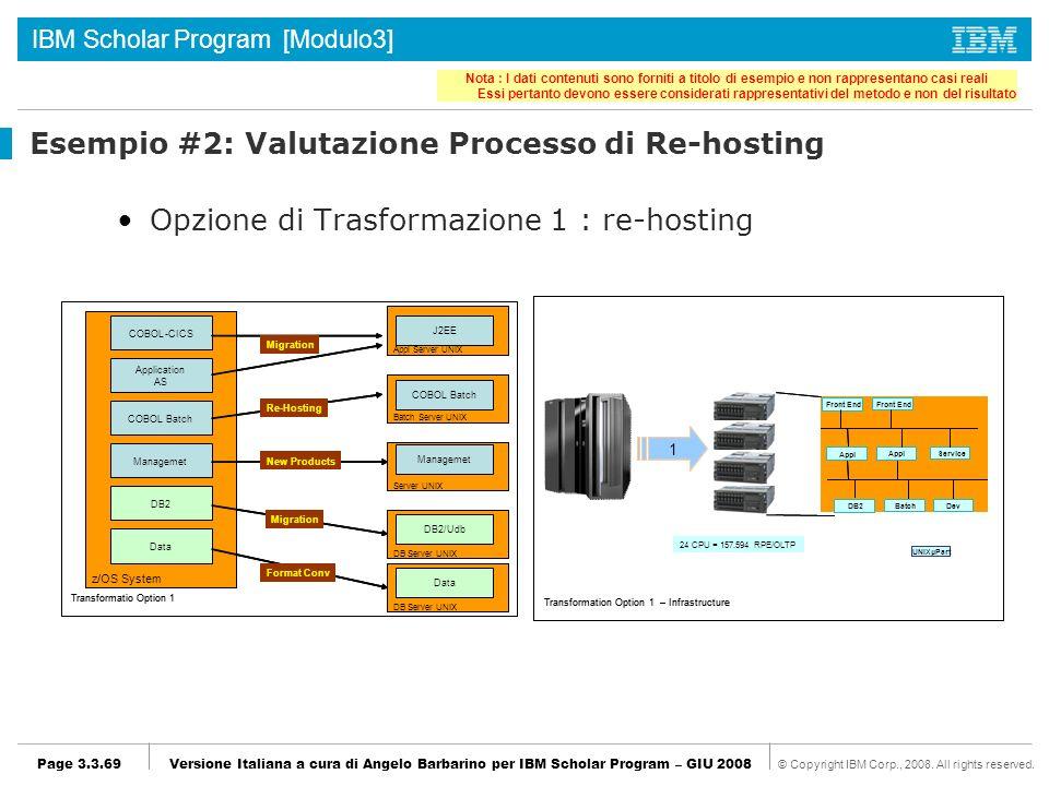 Esempio #2: Valutazione Processo di Re-hosting