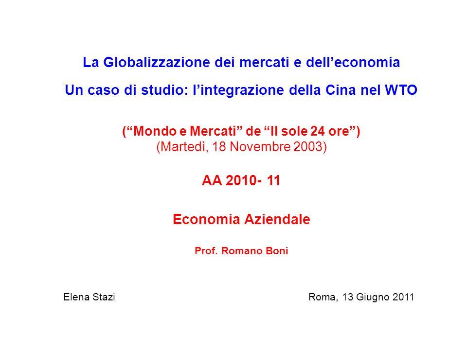 La Globalizzazione dei mercati e dell'economia