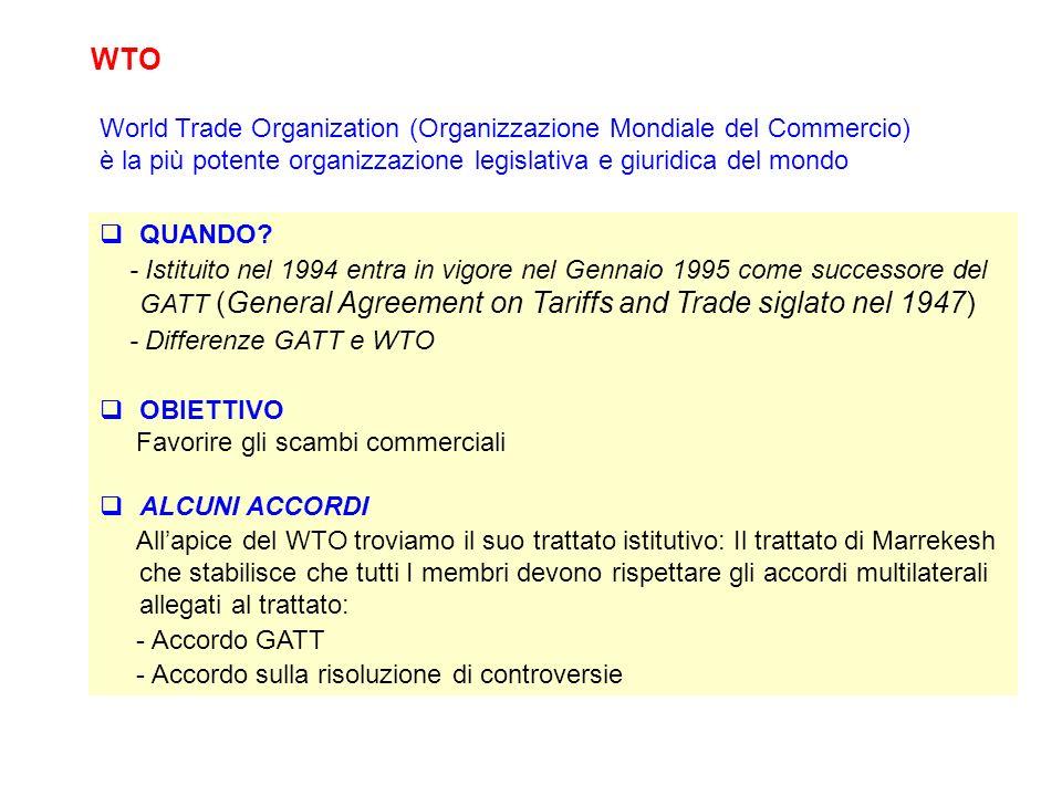 WTO World Trade Organization (Organizzazione Mondiale del Commercio)