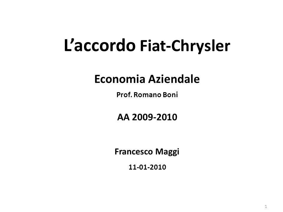 L'accordo Fiat-Chrysler Economia Aziendale Prof