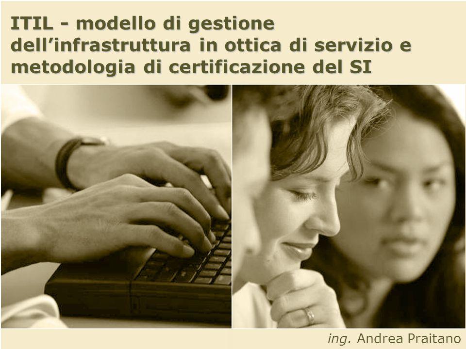 ITIL - modello di gestione dell'infrastruttura in ottica di servizio e metodologia di certificazione del SI
