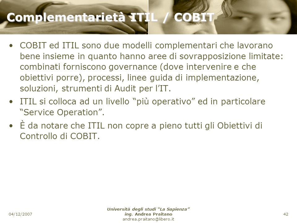 Complementarietà ITIL / COBIT