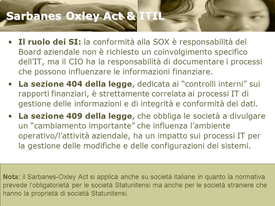 Sarbanes Oxley Act & ITIL