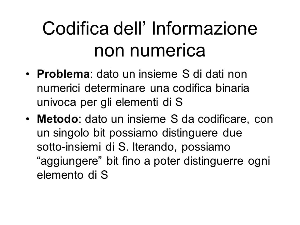 Codifica dell' Informazione non numerica