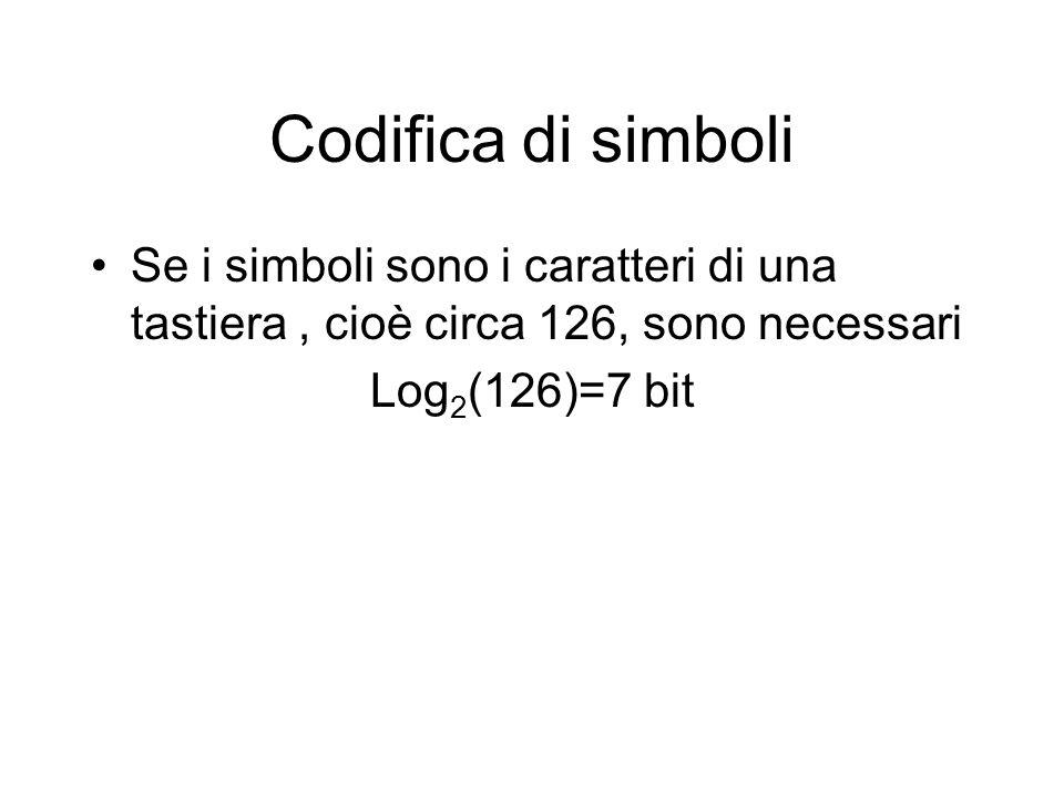 Codifica di simboli Se i simboli sono i caratteri di una tastiera , cioè circa 126, sono necessari.