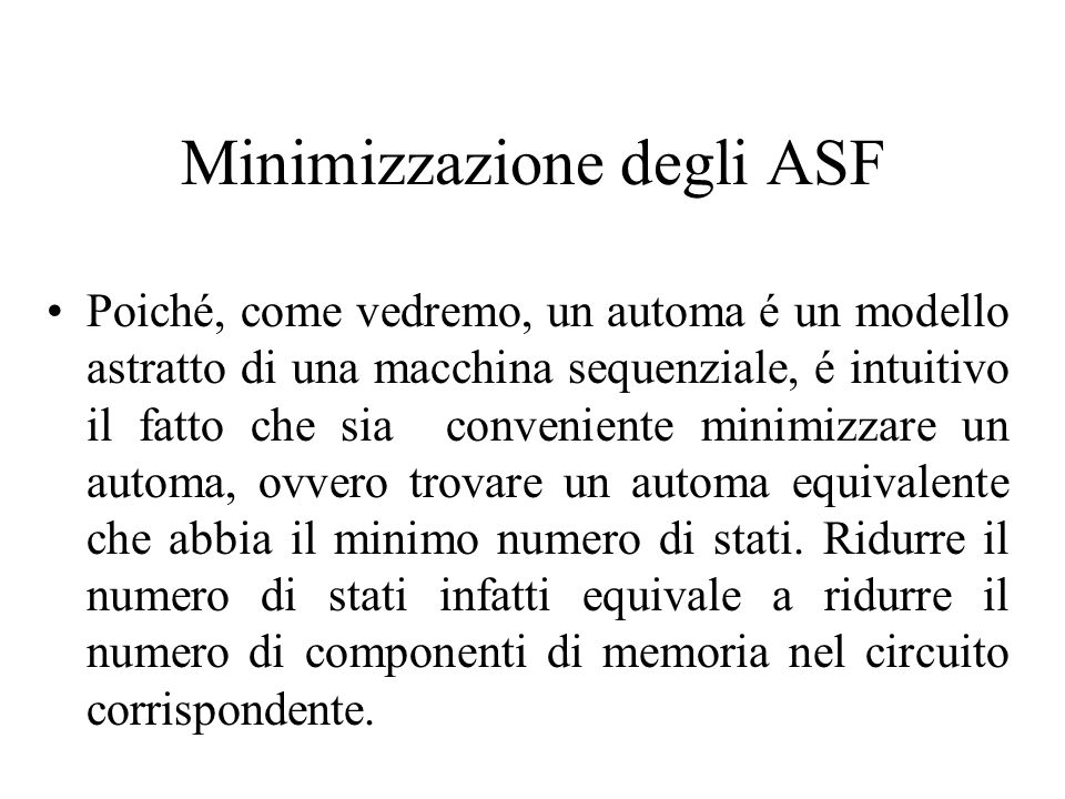 Minimizzazione degli ASF