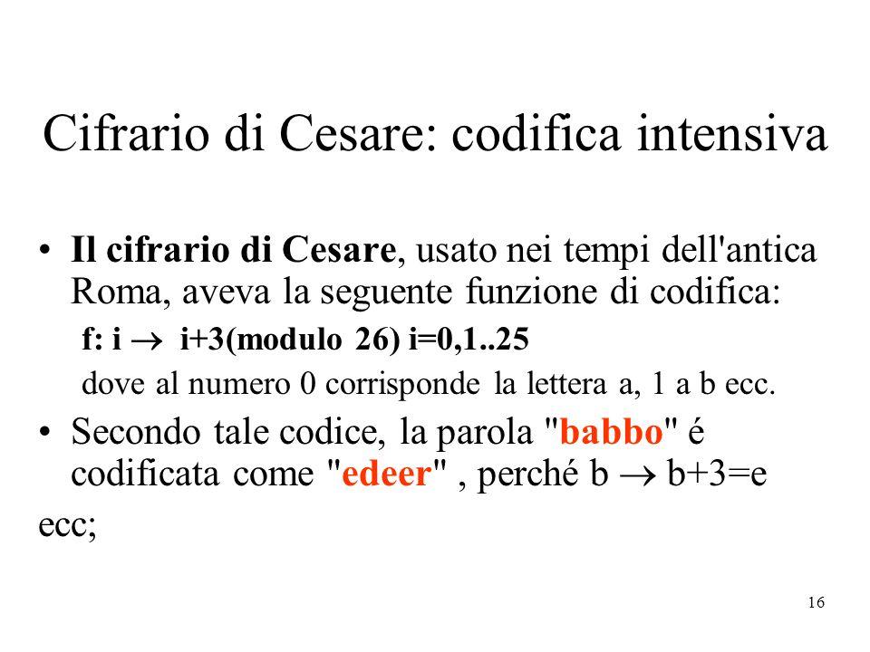 Cifrario di Cesare: codifica intensiva