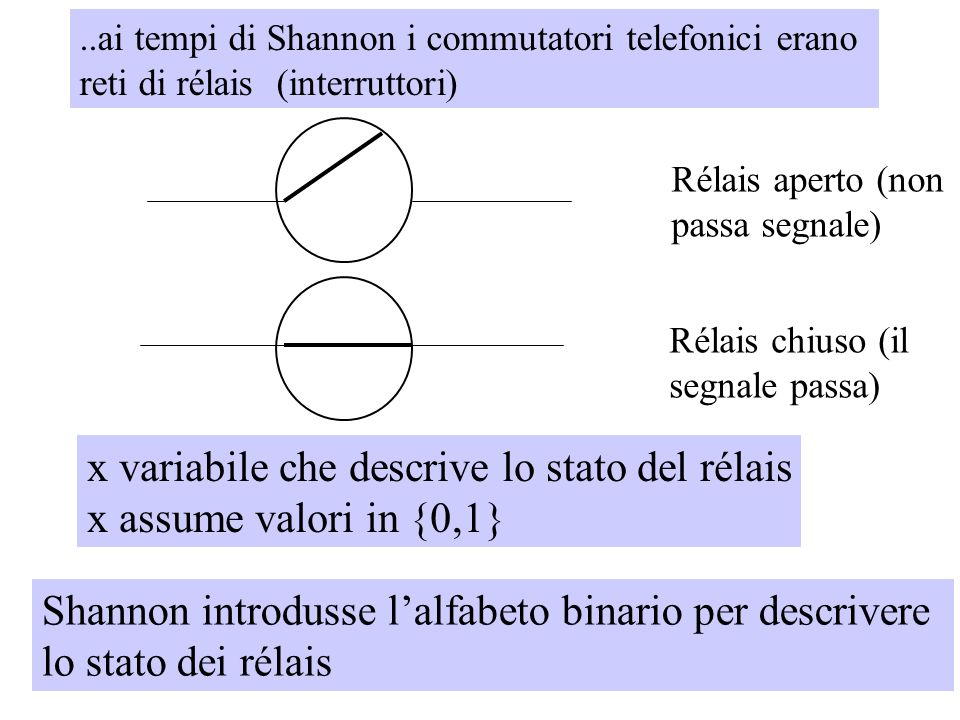 x variabile che descrive lo stato del rélais x assume valori in {0,1}