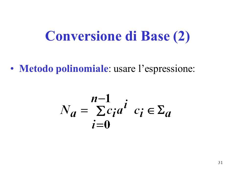 Conversione di Base (2) Metodo polinomiale: usare l'espressione: