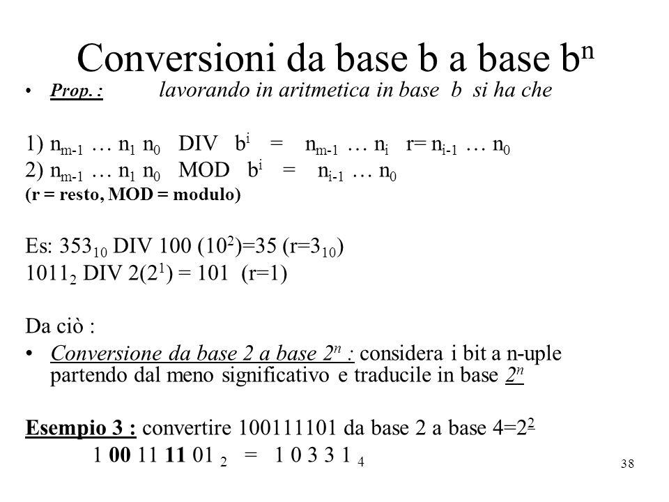 Conversioni da base b a base bn